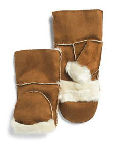 SURELL Faux Shearling Text Mittens