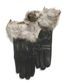 SURELL Leather Gloves With Faux Fox Trim