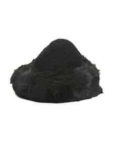 SURELL Faux Fox Fur Cuff Hat With Knit Crown
