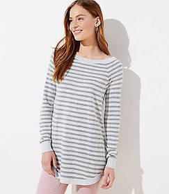 Striped Luxe Knit Shirttail Tunic Sweater