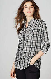 Relaxed Brushed-Cotton Plaid Shirt
