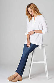 Cotton-Stretch Pintucked Top