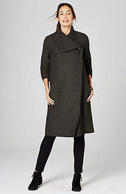 Pure Jill Draped-Collar Double-Face Coat
