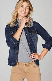 Denim Jacket With Removable Faux-Fur Collar