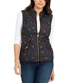 Petite Quilted Floral-Print Zipper Vest, Created F
