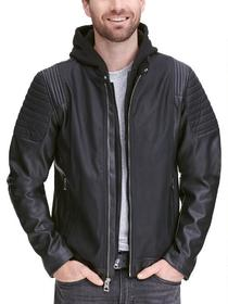Designer Brand Fashion Faux-Leather Jacket w/ Shou