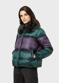 Armani Quilted jacket with faux fur collar