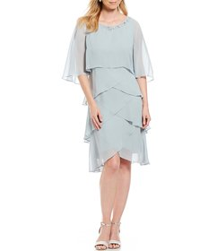 Ignite Evenings Tiered Embellished Chiffon Cape Dr