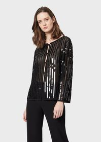 Armani Openwork knit jacket with embroidered sequi