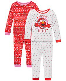 Toddler Girls 4-Pc. Cotton Santa's Helper Elmo Paj