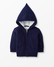Hanna Andersson Sherpa Lined Sweater Jacket in Nav