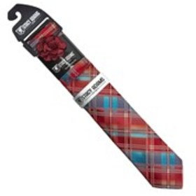 STACY ADAMS Mens Plaid Tie, Pocket Square, & Lapel