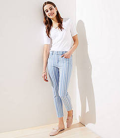 Petite Striped Skinny Crop Jeans