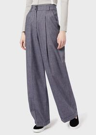 Armani Salt-and-pepper fabric palazzo trousers