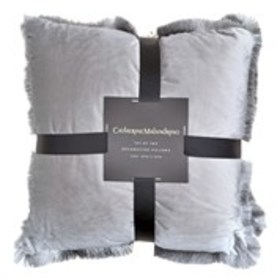 CATHERINE MALANDRINO 2 Pack Velvet Fringe Throw Pi