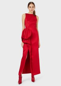 Armani Long dress with oversized applied ruching
