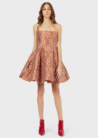 Armani Quilted bustier dress with jacquard floral