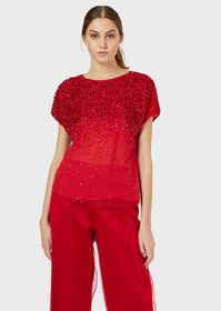 Armani Tulle top with gradient embroidery
