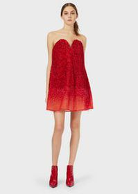 Armani Tulle bustier dress with gradient embroider