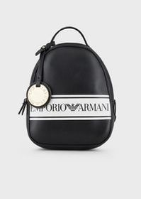 Armani Backpack in faux nappa leather with logo ba