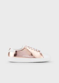 Armani Mirrored-leather sneakers with side logo
