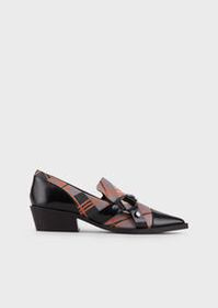 Armani Leather monk-strap shoes with sheepskin det