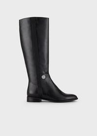 Armani Leather boots with logo medallion