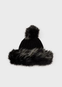 Armani Pure virgin wool beanie with faux-fur inser