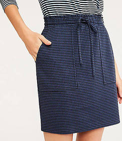 Lou & Grey Checked Ponte Drawstring Skirt