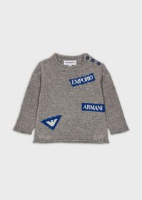 Armani Mixed-wool sweater with logoed patches