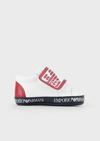 Armani Nappa leather sneakers with logoed Velcro