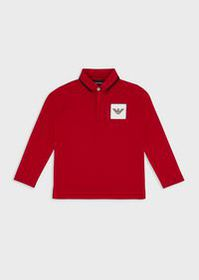 Armani Long-sleeved polo shirt with logo patch