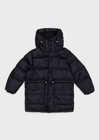 Armani Long, quilted down jacket in glossy nylon