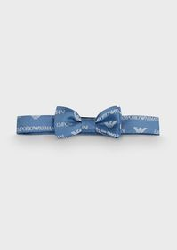 Armani Silk bow tie with all-over logo