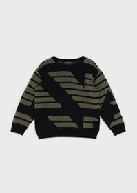 Armani Mixed-wool sweater with oversized jacquard