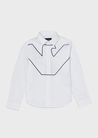 Armani Stretch shirt with oversized embroidered ea