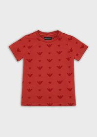 Armani Piqué T-shirt with all-over flocked print