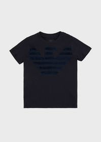 Armani T-shirt with eagle embroidery in velvet