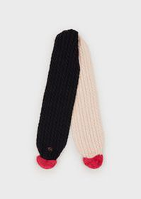 Armani Cable-knit scarf with pompoms