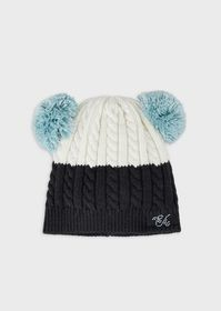 Armani Cable-knit beret with pompoms