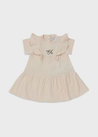 Armani Jersey dress with embroidered logo and ruff