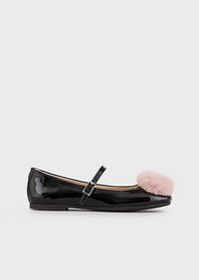 Armani Patent leather Mary Janes with pompom