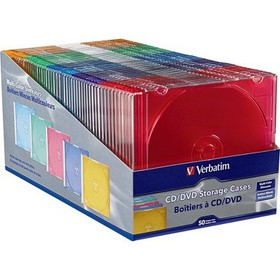 Verbatim CD/DVD Color Slim Jewel Cases, Assorted -