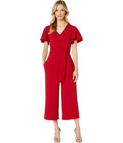 Tahari by ASL Flutter Sleeve Tie Front Jumpsuit wi