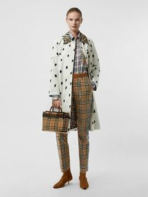 Burberry Animal Print Cotton Car Coat in White