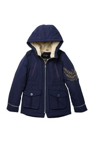 Jessica Simpson Anorak Embroidered Faux Shearling