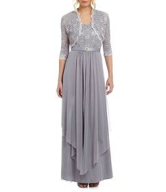 R & M Richards Sequined Lace & Chiffon Jacket Dres