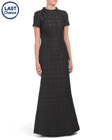KAY UNGER Stretch Jacquard Gown