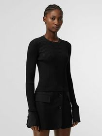 Burberry Tailored Hem Rib Knit Wool Mohair Dress i