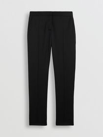 Burberry Straight Fit Wool Tailored Trousers in Bl